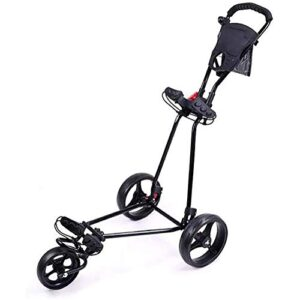 BOYZ Golf Trolley Golf Cart Lightweight Foldable with 360 Rotating Front Wheel, One Second to Open and Close 3 Wheel Golf Push Cart