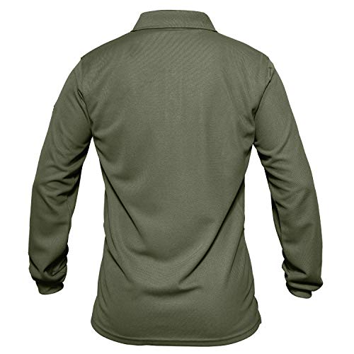 MAGCOMSEN Mens Golf Polo Shirt Long Sleeve Performance Quick Dry Golf Solid Polo Active Shirt Polo Shirts for Men T Shirts Golf Shirts Fishing Shirts Army Green
