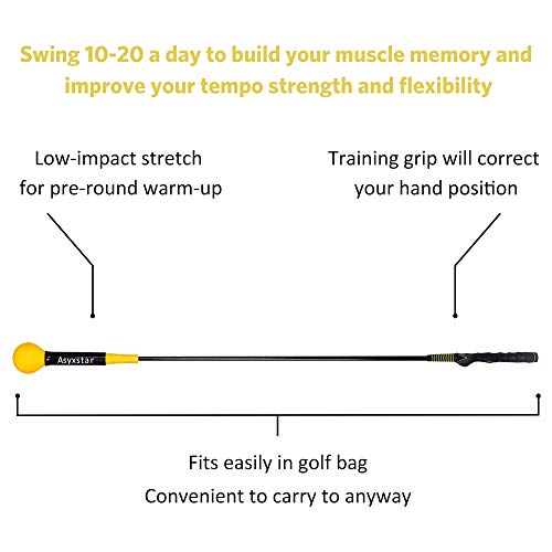 Asyxstar Golf Swing Trainer Aid – Power Flex Golf Swing Training aid for Strength and Tempo Golf Warm Up Stick