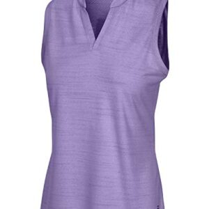 Three Sixty Six Women's Sleeveless Collarless Golf Shirt – Quick Dry Fabric, Lightweight Compression Golf Polo Purple