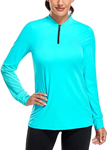 CHICHO Golf Shirts for Women, Summer Outdoor Clothes Quick Dry 1/4 Zip Golf Pullover Polo UPF 50+ Sun Protection Stretch Travelling Green Tee Large