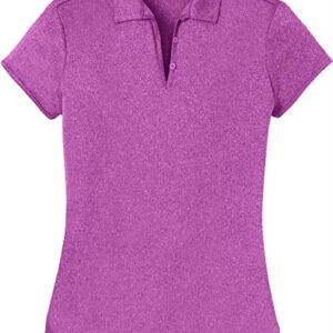 DRI-Equip Ladies Heathered Moisture Wicking Golf Polo-Berry-2XL