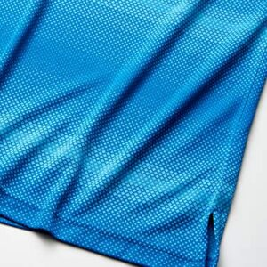 PGA TOUR Men's Fade Out Geo Jacquard Short Sleeve Golf Polo Shirt, Mykonos Blue, S