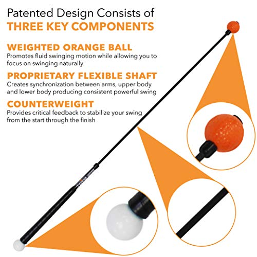 Orange Whip Lightspeed Golf Swing Trainer Aid – Speed Stick Improves Speed, Distance and Accuracy (43″)