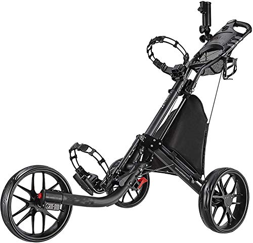 DSHUJC Golf Carts, Trolleys,3 Wheel Golf Push Cart Foldable Collapsible Lightweight Pushcart with Foot Brake Easy to Open &Amp; Close