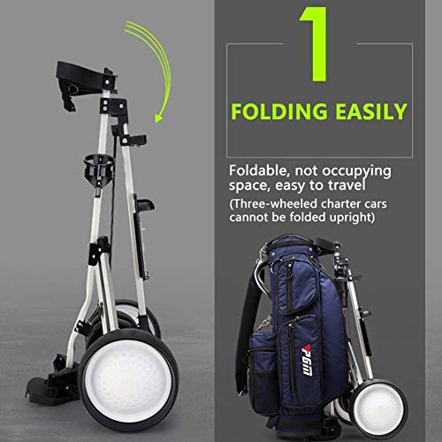 Folding Lightweight Golf Push Cart, 4 Wheel Golf Trolley Push Pull Golf Cart – Foot Brake, Quick Open and Close Golf Pull Cart with Score Board, for Outdoor Sports