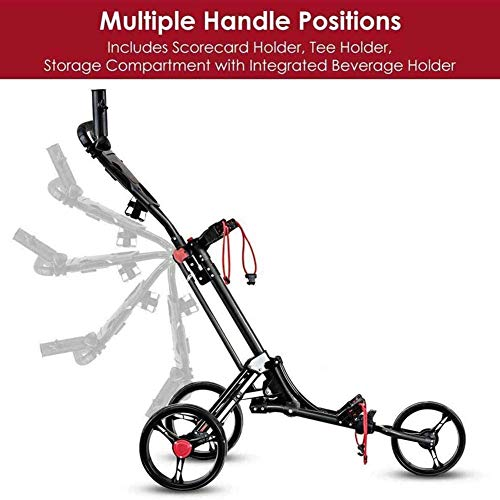 Golf Pull Push Cart, Lightweight One-Click Folding Golf Trolley 4 Wheel, Golf Cart with Adjustable Push Handle, Foot Brake, Scoreboard Easy to Open/Close