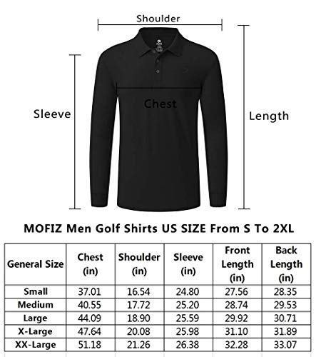 MoFiz Men's Golf Shirt Long Sleeve Golf Polo Classic-fit Polo Quick-Dry Athletic Shirt Black, Small