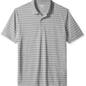 Amazon Essentials Men's Regular-Fit Quick-Dry Golf Polo Shirt, Medium Grey Heather Stripe, Medium