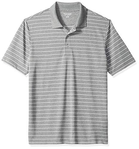 Amazon Essentials Men's Regular-Fit Quick-Dry Golf Polo Shirt, Medium Grey Heather Stripe, Medium