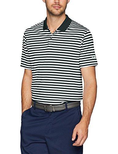 NIKE Men's Dry Victory Stripe Polo Golf Shirt, Black/White/Cool Grey, Small