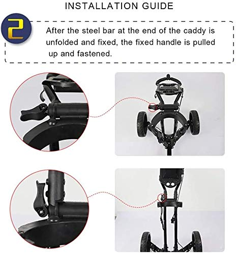 YAOJIA Golf carts 4 Wheel Golf Push Cart Foldable | Easy to Open & Close Golf Trolley with Umbrella Holder Golf Push cart