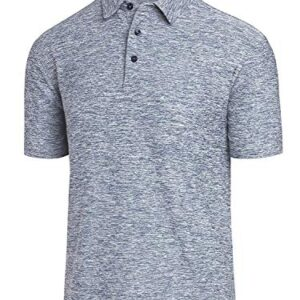 COSSNISS Men's Dry Fit Golf Polo Shirt, Silver, X-Large