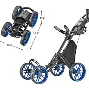 CaddyTek Caddycruiser One Version 8 – One-Click Folding 4 Wheel Golf Push Cart, Blue