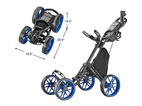 CaddyTek Caddycruiser One Version 8 – One-Click Folding 4 Wheel Golf Push Cart, Blue