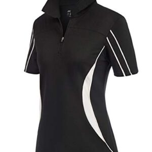 JACK SMITH Women Plus Size Golf Polos Short Sleeve Tennis Shirts V Neck Equestrian Shirts Zip Pullover Black XXL