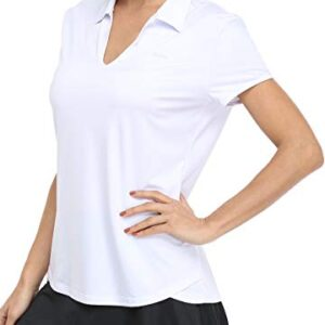 Willit Women's Tennis Active Polo Shirts Short Sleeve UPF 50+ Workout Golf SPF Shirts Running Tops Quick Dry White L