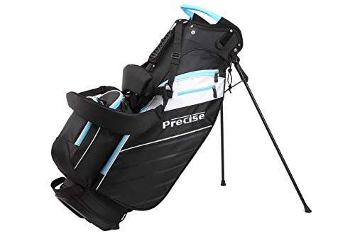 Precise AMG Ladies Womens Complete Golf Clubs Set Includes Driver, Fairway, Hybrid, 6-PW Irons, Putter, Stand Bag, 3 H/C's – Choose Color and Size! (Light Blue, Petite Size -1″)