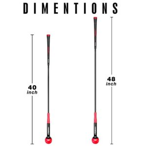 Champkey Golf Swing Trainer – Tempo & Flexibility Training Aids Warm-Up Stick Ideal for Golf Indoor & Outdoor Practice (Red, 48 Inches)