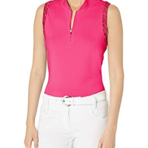 adidas Golf Women's Ultimate365 Primegreen Sleeveless Polo Shirt, Pink, Extra Small