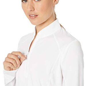 PGA TOUR Women's 1/4 Zip Long Sleeve Sun Protection Shirt, Bright White, M