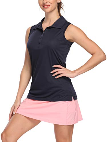 Bodensee Women's Golf Sleeveless Polo Shirts, Quick Dry Tennis Athletic Shirts Outdoor Sports UPF 50+ Navy L