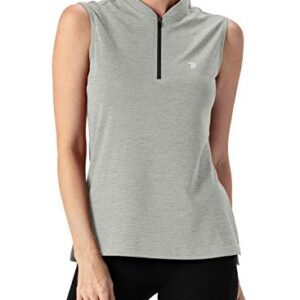 TBMPOY Women's UPF 50+ Golf Polo Shirts Sleeveless Zip Up Athletic Tank Tops Quick Dry Light Grey L