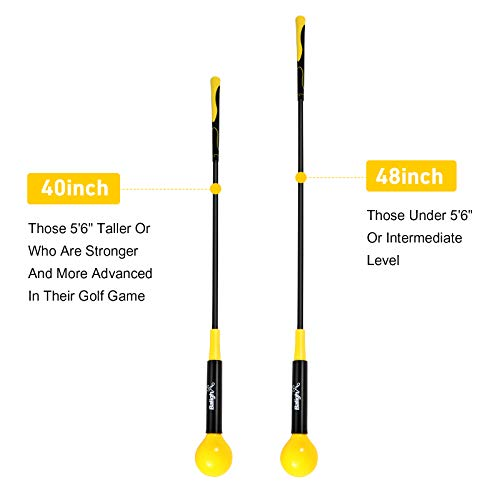 Balight Golf Swing Trainer Aid and Correction for Strength Grip Tempo & Flexibility Training Suit for Indoor Practice Chipping Hitting Golf Accessories (Yellow, 40)