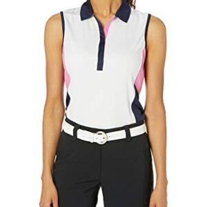 PGA TOUR Women's Sleeveless Colorblock Polo Shirt, Bright White, Large