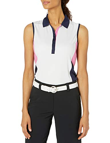 PGA TOUR Women's Sleeveless Colorblock Polo Shirt, Bright White, Large