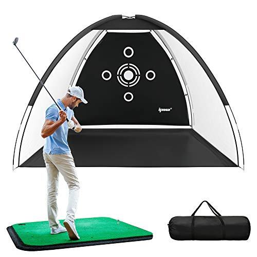 IPOW Golf Practice Net, 10×6.5ft Golf Hitting Training Aids Nets with Target and Carry Bag for Backyard Driving Chipping – Men Kids Indoor Outdoor Sports Game