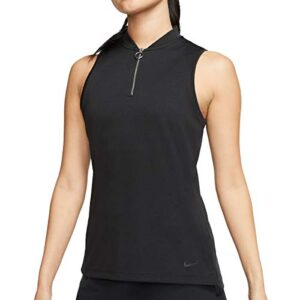 Nike Golf Dri-Fit Women's Sleeveless Golf Polo (Black, Large)