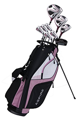 Aspire XD1 Ladies Womens Complete Right Handed Golf Clubs Set Includes Titanium Driver, S.S. Fairway, S.S. Hybrid, S.S. 6-PW Irons, Putter, Stand Bag, 3 H/C's Pink (Cherry Right Hand)