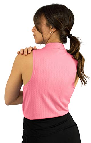 Three Sixty Six Womens Sleeveless Collarless Golf Polo Shirt with Zipper – Quick Dry Tank Tops for Women