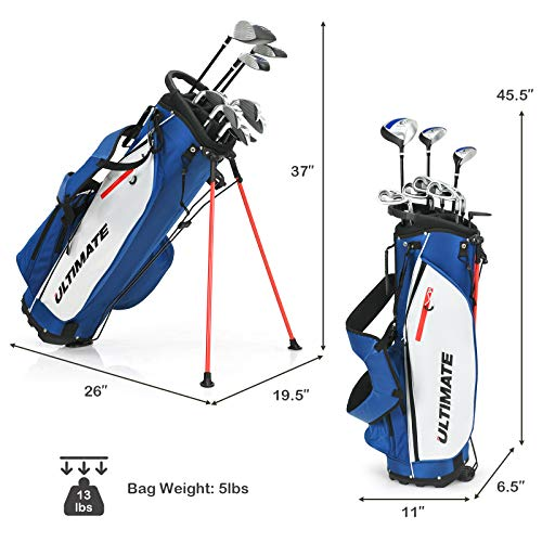 Tangkula Complete Golf Clubs Package Set 10 Pieces for Men & Women Right Hand, Includes 460cc Alloy Driver, 3# Fairway Wood, 4# Hybrid, 6#, 7#, 8#, 9# & P# Irons, Free Putter, Stand Bag (Blue)