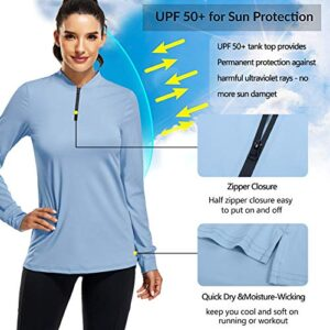 CHICHO Golf Shirts for Women, Summer Outdoor Clothes Quick Dry 1/4 Zip Golf Pullover Polo UPF 50+ Sun Protection Stretch Travelling Tennis Shirt Blue Tee Large