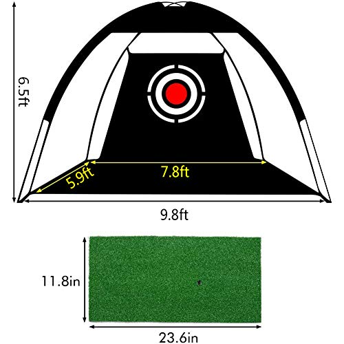 Golf Net Golf Training Aids Practice Net Equipment for Indoor Outdoor Backyard Driving Swing Hitting Chipping with Grass Mat, Golf Tees, Golf Balls and Carry Case (7.8 Feet)