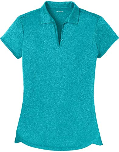 DRI-Equip Ladies Heathered Moisture Wicking Golf Polo-TropicBlue-M