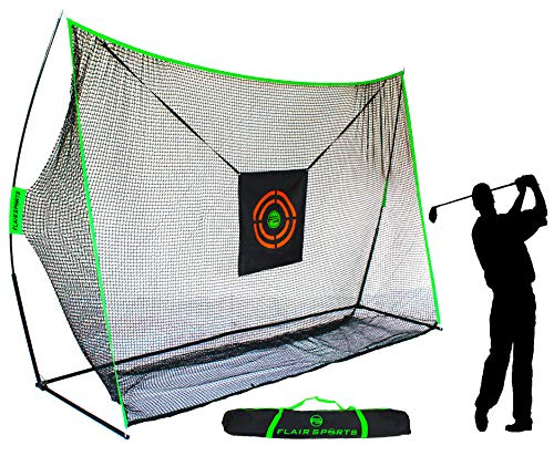 Flair Sports – Heavy Duty 10′ x 7′ Golf Hitting Net – Professional Series – Practice Driver, Irons, & Wedges – Indoor & Outdoor – Driving Range at Home – Neon Chipping Target – Swing Training