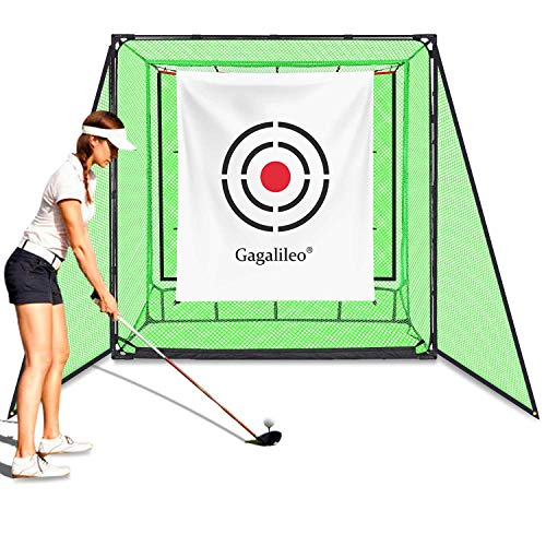 Gagalileo Golf Net Hitting Cage Practice Driving Net High Impact Double Back Stop Training Aid Automatic Ball Return Net for Backyard 6.6X3.3X6.6FT with Two Side Nets and Target