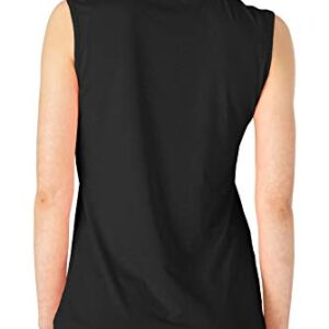 BASUDAM Women's Golf Polo Shirts V-Neck Sleeveless Collarless Tennis Athletic Shirts Quick Dry Black L