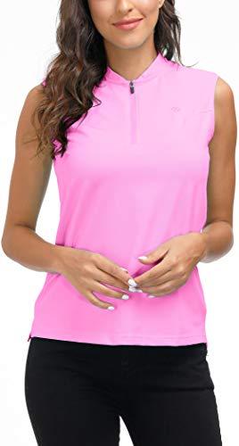 AjezMax Womens Golf Shirts Sleeveless Tee Golf Top Zipper Polos Shirt Pink Medium