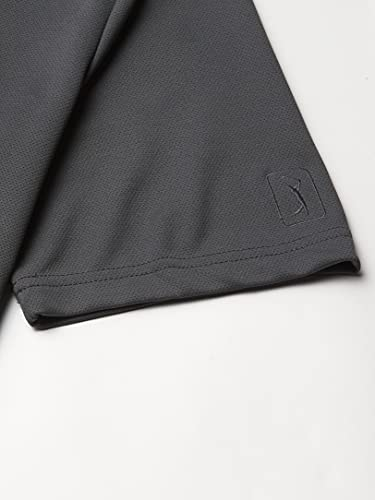 PGA TOUR Men's Airflux Short Sleeve Solid Golf Polo-Shirts, Asphalt, XL