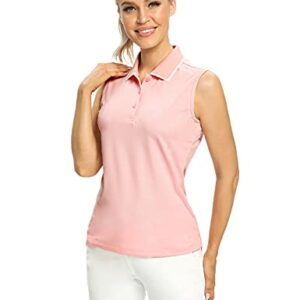 Hiverlay Polo Shirts for Women Sleeveless Golf Tank Tops Tennis Shirt Dry Fit UPF 50+ Lightweight Collared Ladies Tops Pink m