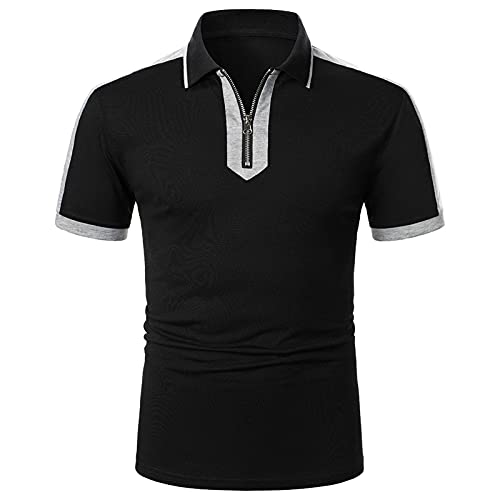 Sunhusing Golf Shirts for Men – Turn Down Collar Short-Sleeve Polo, Athletic Casual Collared T-Shirt Color Block Summer Tops Black