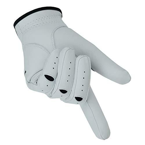 Apical Premium Leather Golf Glove Stable Grip Mens Golf Gloves Durable Value Pack (Pack of 3) Genuine Cabretta Leather Golf Gloves Men Left Hand (Regular Sizes) (Large, Left Handed)