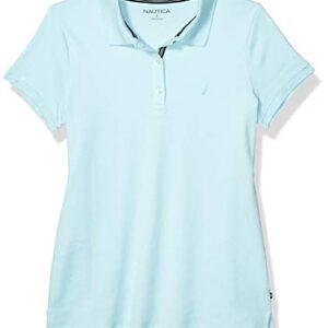 Nautica Women's 3-Button Short Sleeve Breathable 100% Cotton Polo Shirt, Sea Water Blue, X-Large