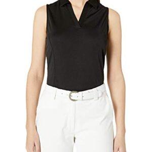 PGA TOUR Women's Airflux Sleeveless Golf Polo Shirt, Caviar, Small