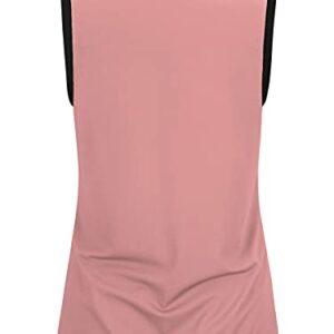 LASLULU Womens Golf Tennis Polo Shirt Zip Up Sleeveless Tops Casual Shirts Summer Tops Golf Tank Tops Running Sports Collared Shirts for Women(Pink Medium)