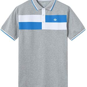 JINSHI Men's Short Sleeve Golf Shirts Moisture Wicking Sports Polo Shirts Color Block Shirts(XL,Grey/Blue)